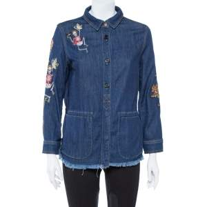 Zadig & Voltaire Blue Embroidered Denim Tackl Shirt XS