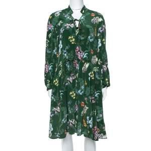Zadig & Voltaire Green Resist Season Print Silk Long Sleeve Dress M