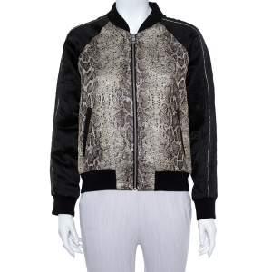 Zadig and Voltaire Black Jacquard & Linen Billy Snake Deluxe Bomber Jacket M