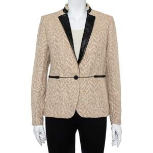 Zadig and Voltaire Beige Lurex Detail Leather Trim Detail Victana Deluxe Blazer M