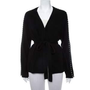Zadig & Voltaire Black Cashmere Wool Studded Lemmy Cardigan M/L