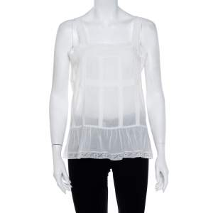 Zadig & Voltaire White Cotton Voile Teacup Lace Top L