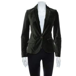 Zadig and Voltaire Green Velvet Button Front Vero Blazer S