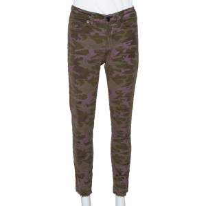Zadig and Voltaire Green Camouflage Velvet Frayed Hem Paule Jeans S