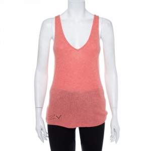 Zadig & Voltaire Pink Cashmere Butterfly Embellished Tank Top S