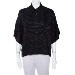 Zadig & Voltaire Black Silk Jacquard Button Front Shirt M