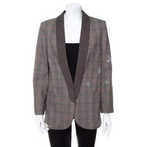 Zadig & Voltaire Brown Wool Blend Verdun Mix Check Patterned Blazer M