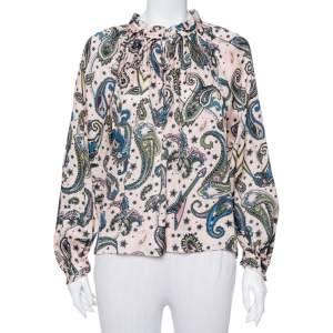 Zadig&Voltaire Pale Pink Paisley Printed Crepe Therese Top M