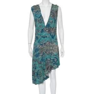 Zadig & Voltaire Blue Root Print Asymmetrical Hem Midi Dress S