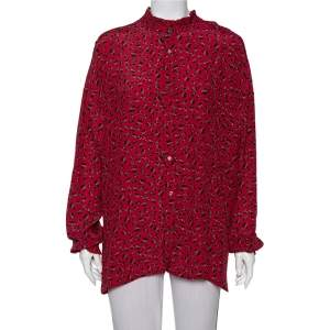 Zadig and Voltaire Red Floral Printed Crepe Ruffle Detail Tamis Liberty Shirt M