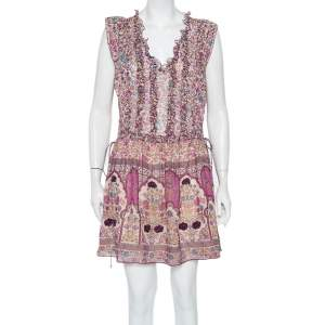 Zadig & Voltaire Lilac Floral Printed Chiffon Waist Tie Detail Rimana Dress XS