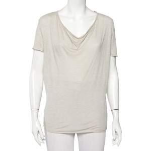 Zadig and Voltaire Beige Knit Scoop Neck Anyssa Deluxe T-Shirt S
