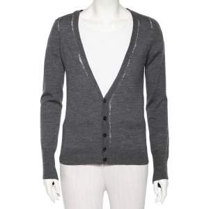 Zadig and Voltaire Grey Wool Distressed Button Front Miriad Cardigan S