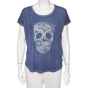 Zadig & Voltaire Blue Skull Printed Pigmented Cotton Rica Oversized T-Shirt S