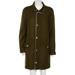 Zadig and Voltaire Khaki Wool Silver Leather Piping Detail Karne Coat L