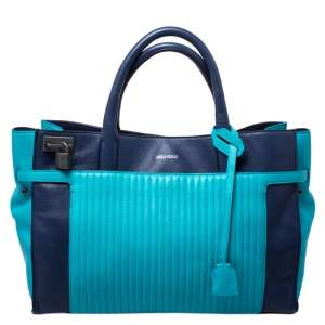 Zadig and Voltaire Blue/Green Leather Large Candide Tote