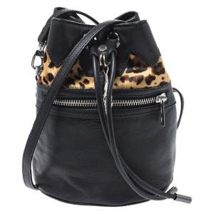 Zadig and Voltaire Black Leopard Print Calfhair and Leather and Drawstring Bucket Bag