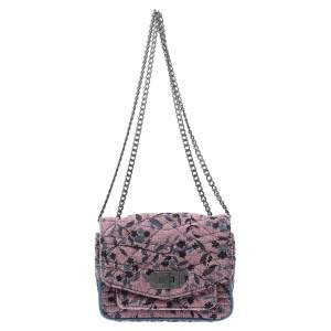 Zadig and Voltaire Pink/Blue Fabric and Leather Shoulder Bag