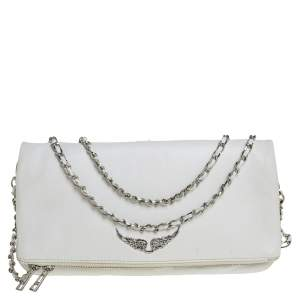 Zadig and Voltaire White Leather Rocky Foldover Shoulder Bag