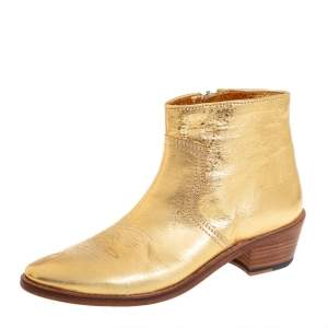 Zadig And Voltaire Metallic Gold Leather Pilar Ankle Boots Size 40