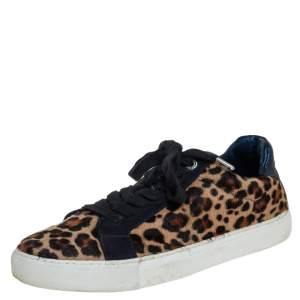 Zadig&Voltaire Brown/Blue Leopard Print Calf Hair And Suede Low-top Sneakers Size 40