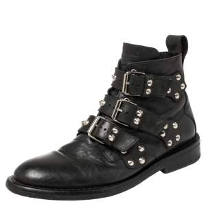 Zadig and Voltaire Black Leather Studded Laureen Ankle Boots Size 41