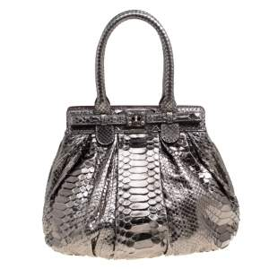 Zagliani Gun Metal Python Small Puffy Bag
