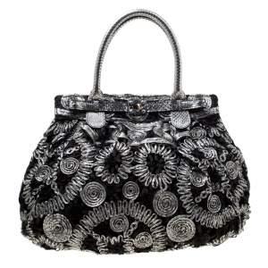 حقيبة يد زاغلياني قماش وجلد ثعبان رصاصية/سوداء