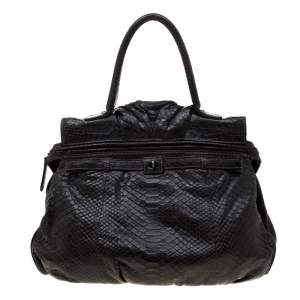 حقيبة زاغلياني منفوخة جلد ثعبان ذهبية/ سوداء ميتالك