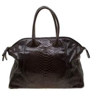 Zagliani Brown Python Tomodachi Weekender Bag