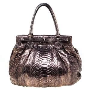 حقيبة هوبو زاغلياني بوفي جلد ثعبان برونية ميتاليك