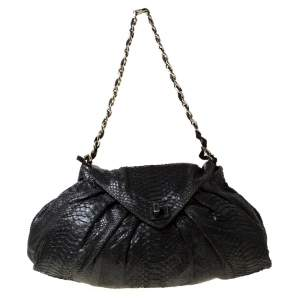 Zagliani Black Metallic Python Leather Shoulder Bag