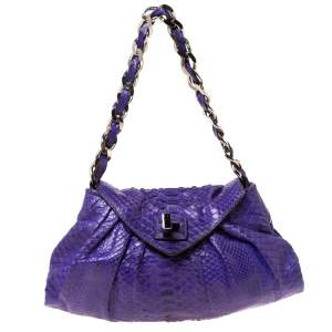 Zagliani Purple Python Leather Envelope Shoulder Bag