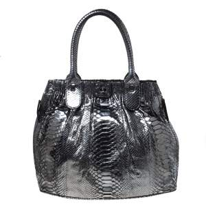 Zagliani Gun Metal Python Medium Puffy Hobo