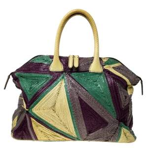 Zagliani Multicolor Woven Leather and Python Tomodachi Satchel