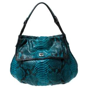 Zagliani Blue Python Leather Hobo