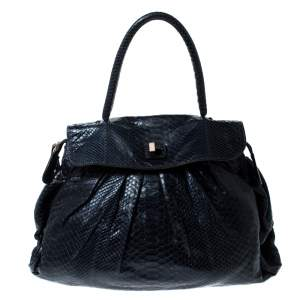 Zagliani Navy Blue Python Puffy Hobo