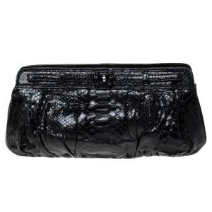 Zagliani Black Python Leather Clutch
