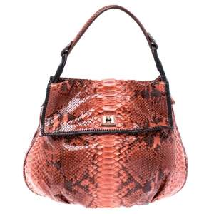 Zagliani Orange Python Leather Hobo