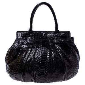 Zagliani Metallic Black Python Puffy Hobo