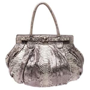 Zagliani Cream/Black Metallic Python Puffy Hobo