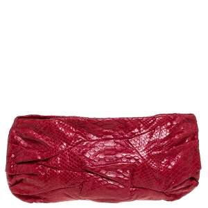 Zagliani Red Python Leather Flash Clutch