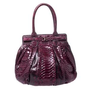 Zagliani Burgandy Python Small Puffy Bag