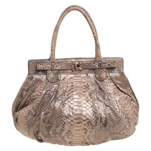 Zagliani Metallic Peach and Grey Python Puffy Hobo