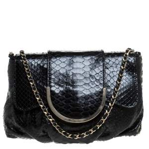 Zagliani Black Python Shoulder Bag