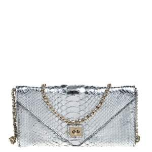 Zagliani Silver Python Envelope Flap Chain Shoulder Bag