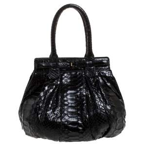 Zagliani Black Python Small Puffy Bag