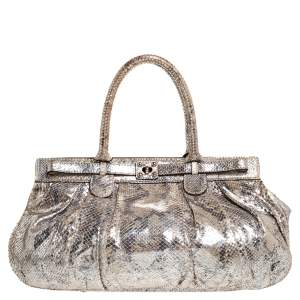 Zagliani Metallic Silver Python Puffy Hobo