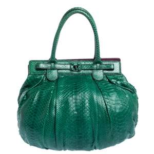 Zagliani Green Python Puffy Hobo