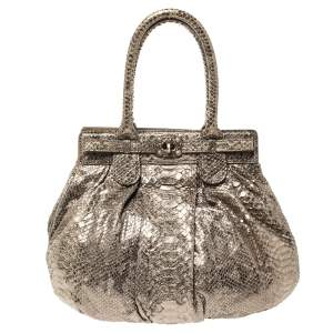 Zagliani Metallic Python Small Puffy Hobo
